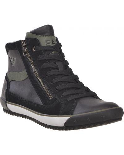 Кожаные ботинки осенние черные Ea7 Emporio Armani
