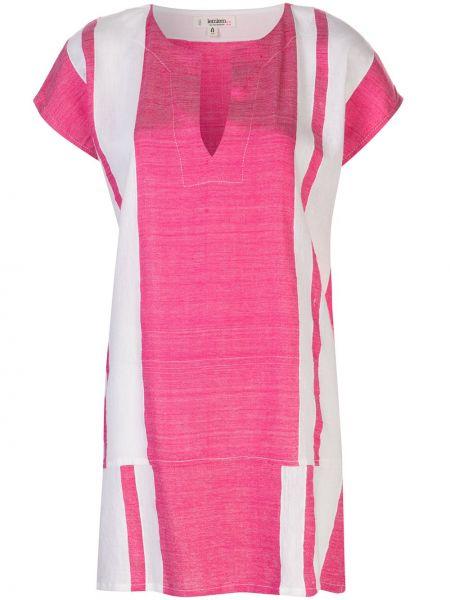 Открытое розовое платье мини с воротником с короткими рукавами Lemlem