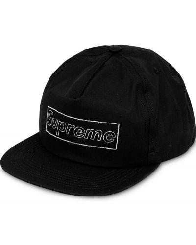 Czarna czapka bawełniana z haftem Supreme