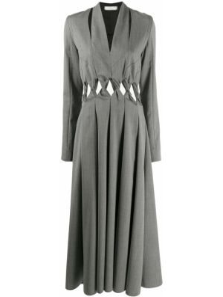 Черное платье макси с длинными рукавами с V-образным вырезом на молнии Litkovskaya