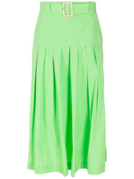 Зеленая хлопковая юбка миди НК