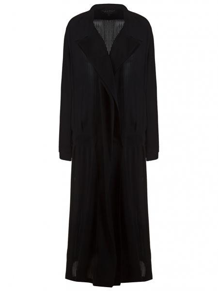 Шелковый черный длинный плащ с воротником с лацканами Gucci