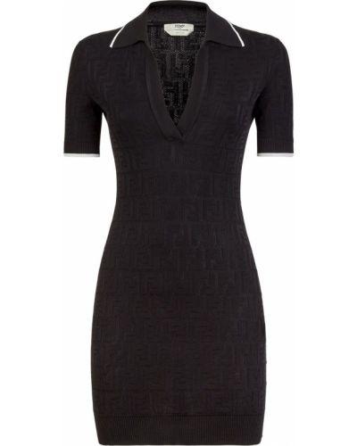 Прямое с рукавами черное платье мини Fendi