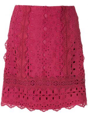 Ажурная с завышенной талией красная юбка мини Martha Medeiros