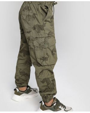 Зеленые брюки на резинке на пуговицах с карманами свободного кроя Ostin