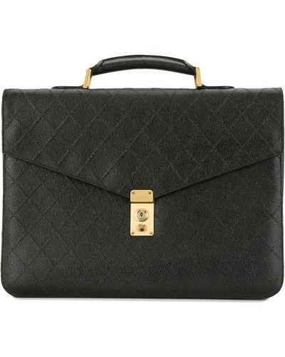 Золотистый кожаный черный портфель Chanel Pre-owned