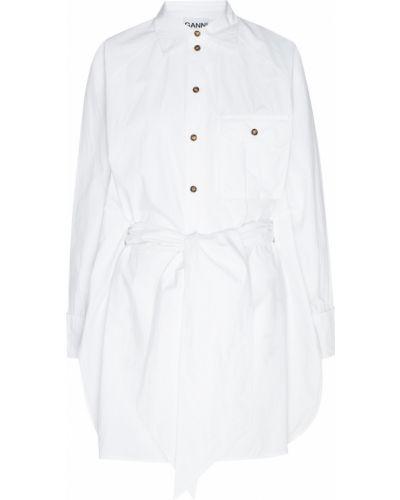 Блузка с длинным рукавом с поясом белая Ganni
