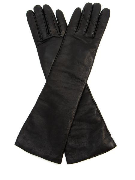 Кашемировые черные кожаные перчатки с декоративной отделкой Sermoneta Gloves