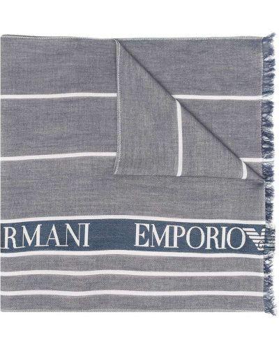 Niebieski szalik z jedwabiu z printem Emporio Armani