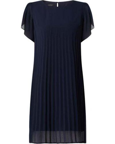Niebieska sukienka koktajlowa rozkloszowana krótki rękaw Apart Glamour