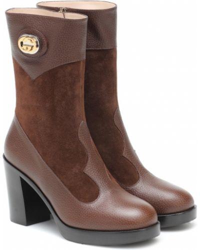 Skórzany brązowy buty na platformie na platformie Gucci