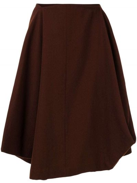 Шерстяная коричневая с завышенной талией асимметричная юбка мини Comme Des Garçons Pre-owned
