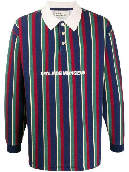 Niebieska klasyczna koszula bawełniana w paski Drole De Monsieur