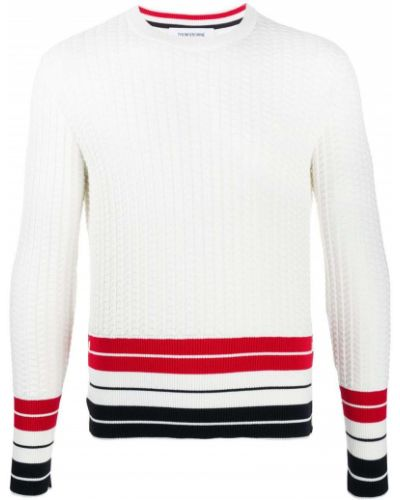 Prążkowany pulower zapinane na guziki z długimi rękawami Thom Browne