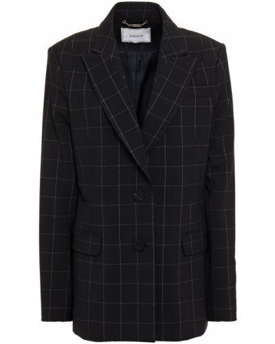 Шерстяной черный пиджак с карманами Erdem