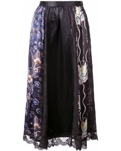 Черная ажурная юбка миди в рубчик Jill Stuart