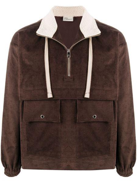 Brązowa długa kurtka bawełniana z długimi rękawami Drole De Monsieur