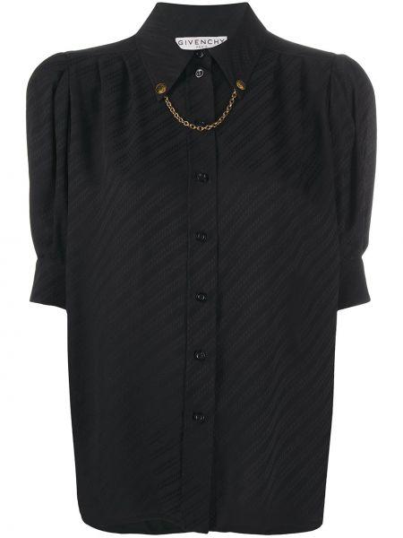 Jedwab czarny bluzka z kołnierzem z paskami Givenchy