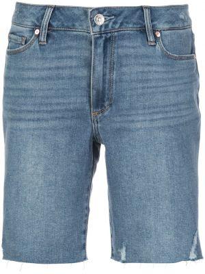 Синие классические шорты с поясом на молнии Paige