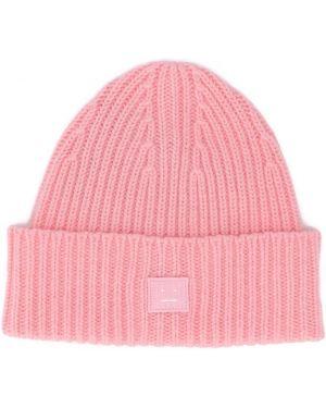 Prążkowany różowy kapelusz wełniany Acne Studios Kids