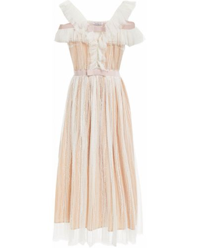 Biała sukienka midi koronkowa z haftem Vivetta