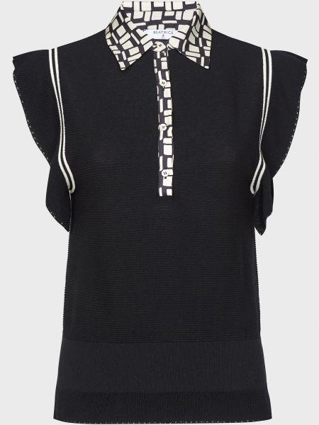 Черная блузка из вискозы на пуговицах Beatrice.b