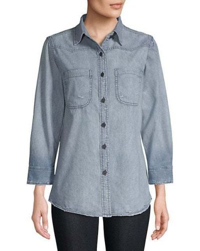 Хлопковая синяя джинсовая рубашка с длинными рукавами Sandrine Rose