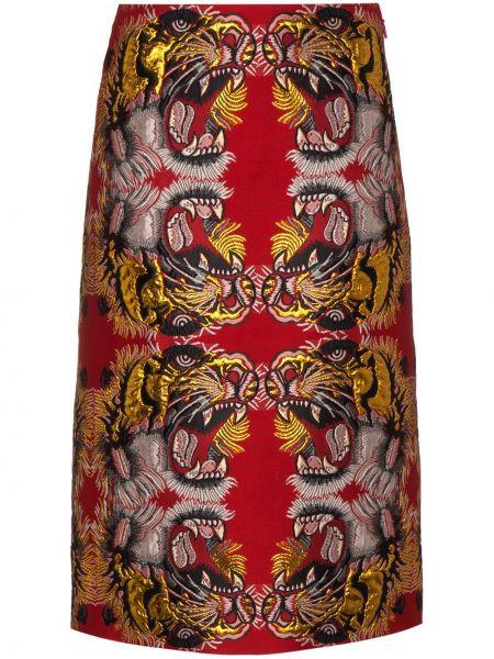 Красная прямая юбка с люрексом на молнии Gucci