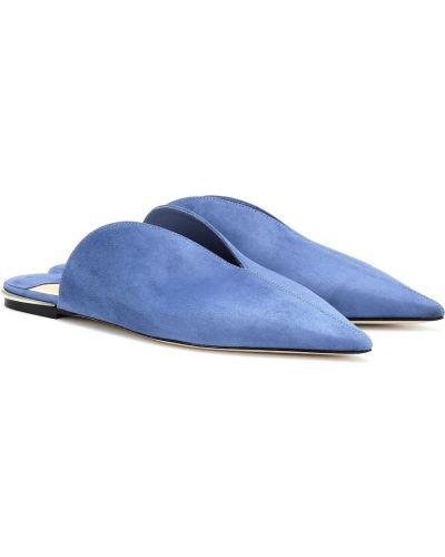 Тапочки синие замшевые Jimmy Choo