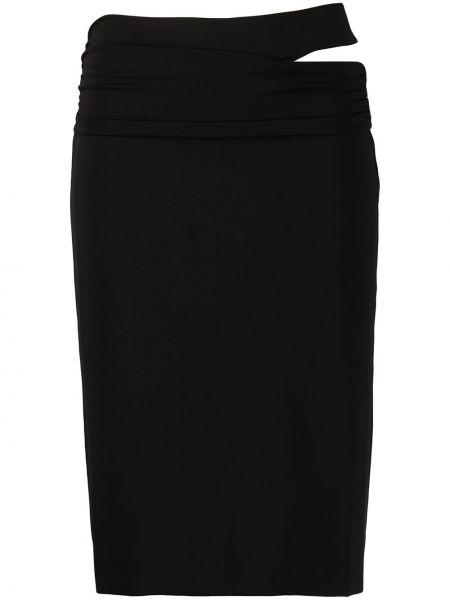 Черная юбка миди с поясом узкого кроя с вырезом Helmut Lang