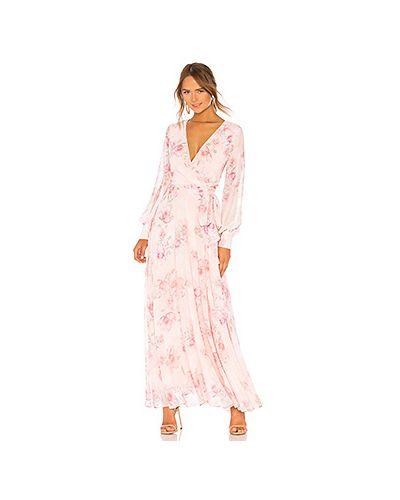 Платье макси розовое на пуговицах Yumi Kim