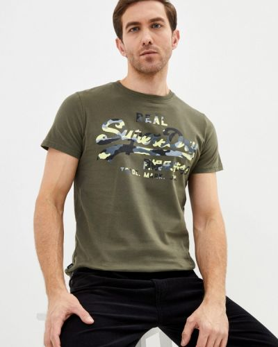 Зеленая с рукавами футболка Superdry