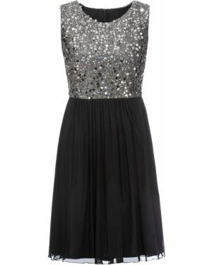 Черное платье мини с пайетками Bonprix