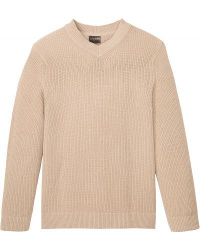 Бежевый вязаный пуловер с V-образным вырезом Bonprix