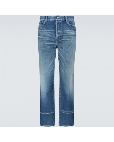 Bawełna prosto bawełna niebieski jeansy o prostym kroju Saint Laurent
