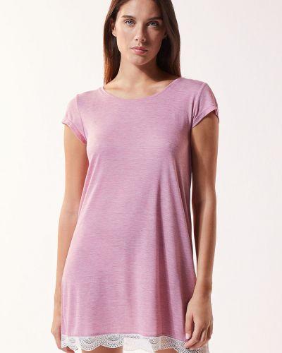 Piżama z koszulą koronkowa krótki rękaw z wiskozy Etam