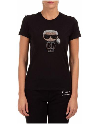 T-shirt okrągły z dekoltem z haftem Karl Lagerfeld