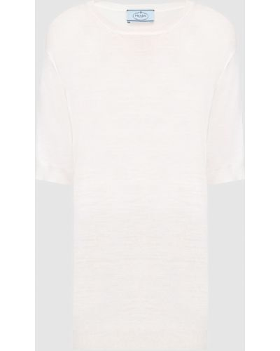 Шерстяная бежевая футболка Prada