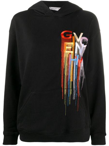 Czarny bawełna bluza z kapturem z haftem Givenchy