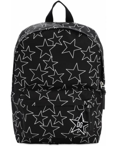 Czarny plecak z nylonu z printem Dolce And Gabbana