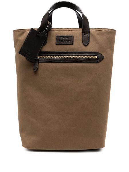 Plecak skórzany - brązowy Polo Ralph Lauren