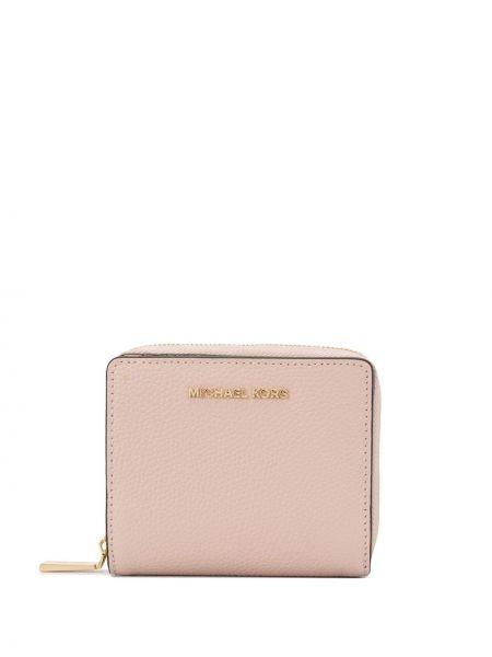 Мягкий розовый кожаный кошелек круглый со шлицей Michael Michael Kors