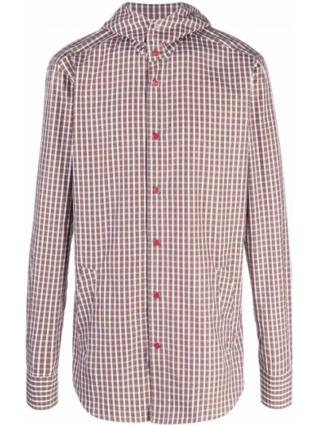 Рубашка с капюшоном - коричневая Kiton