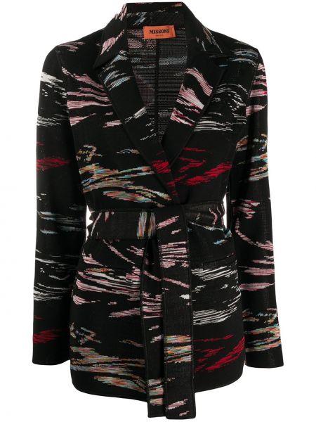 Черный пиджак с поясом с воротником Missoni