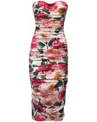 Бежевое шелковое платье миди на крючках Dolce & Gabbana