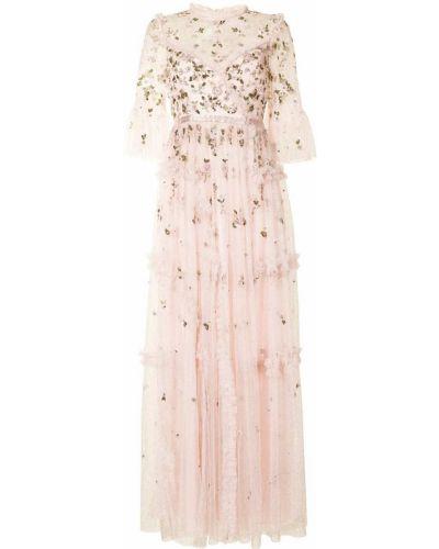 С рукавами розовое платье макси прозрачное Needle & Thread