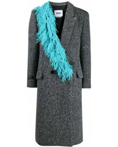 Серое шерстяное пальто с воротником Msgm