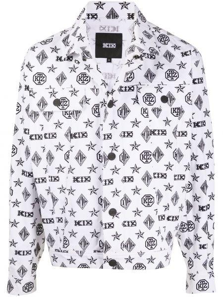 Белая джинсовая куртка на пуговицах с воротником с карманами Ktz