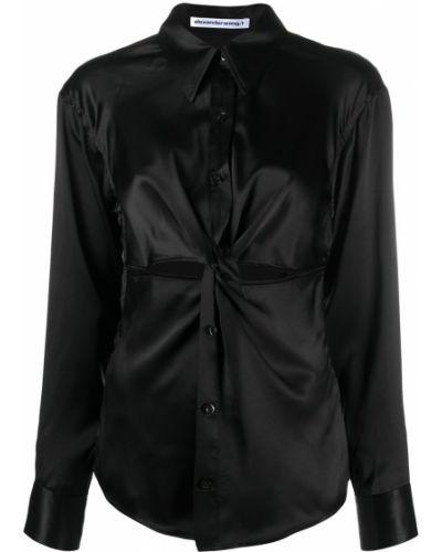 Шелковая черная блузка с воротником Alexanderwang.t