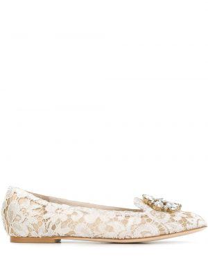Бежевые кожаные слиперы на плоской подошве Dolce & Gabbana